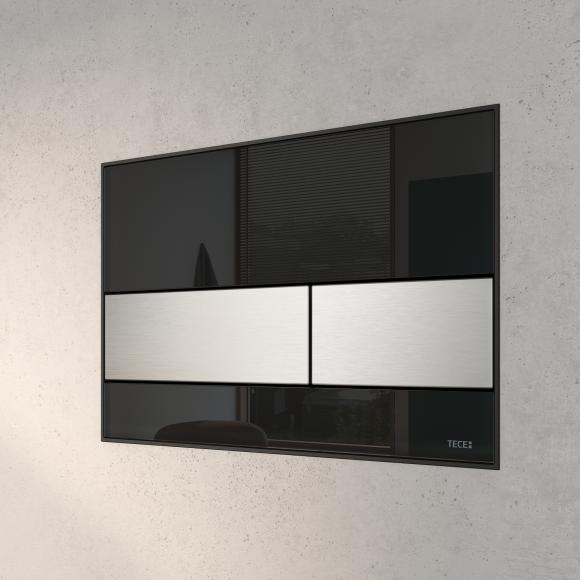TECE square Plaque d'actionnement de chasse d'eau en verre pour technique de rinçage à 2 volumes, 4027255022362