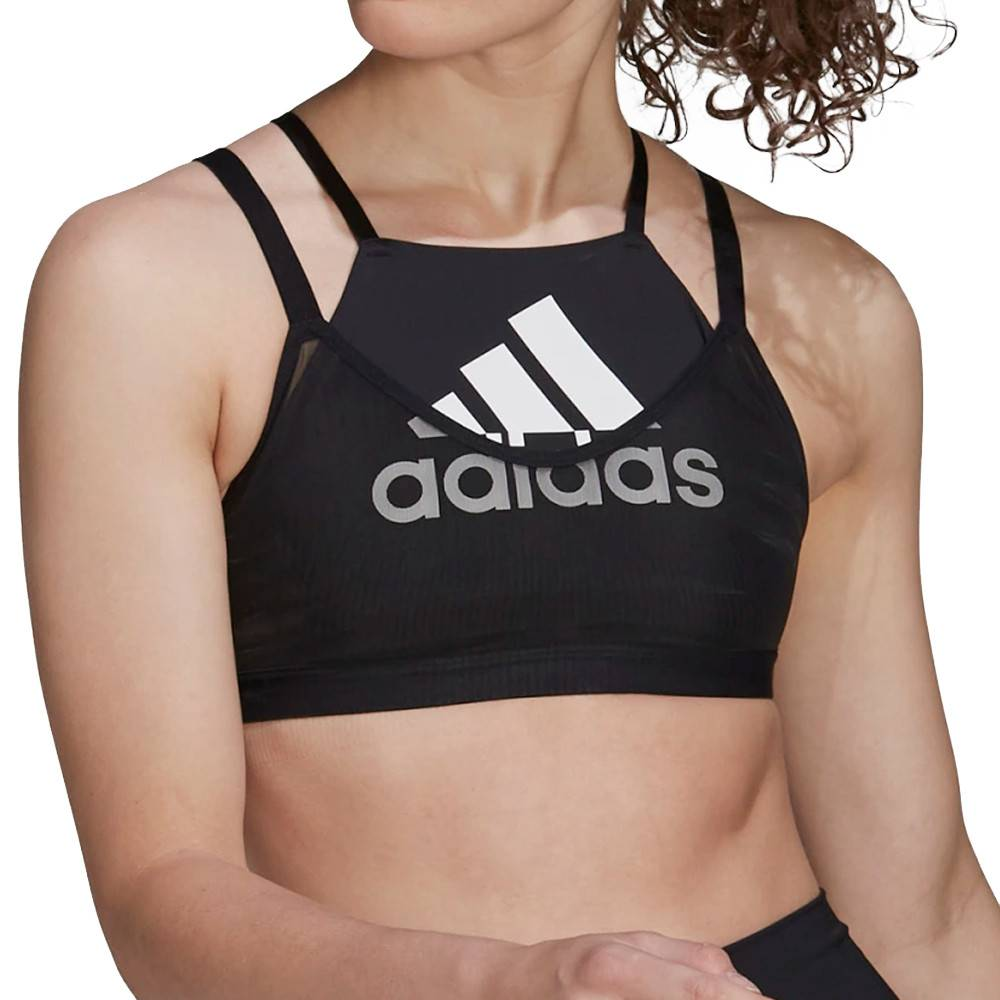 Adidas Brassière noire femme Adidas All Me Badge Of Sport Mesh  - Bleu