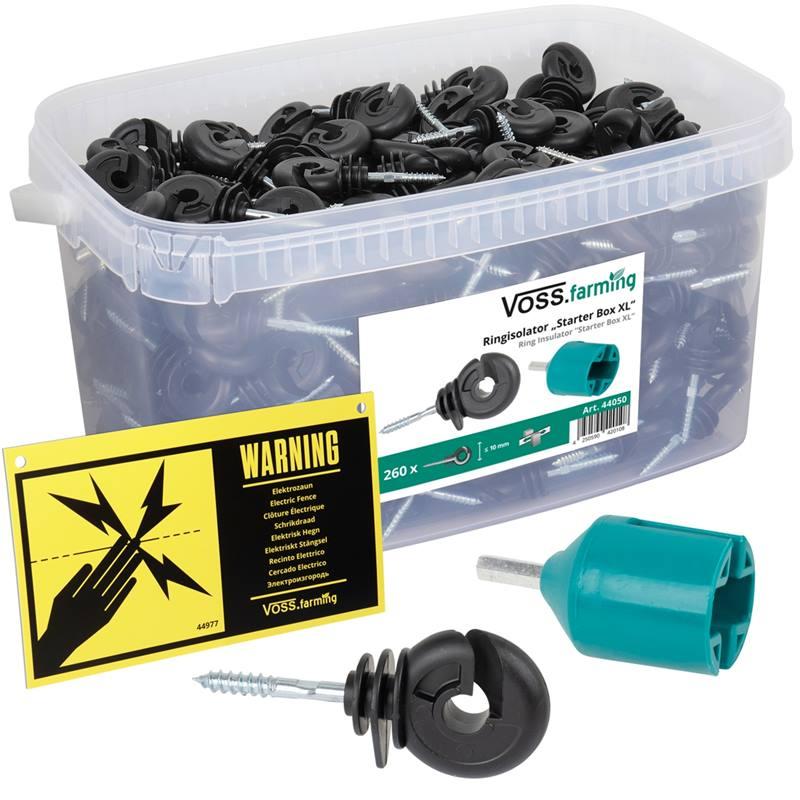 Voss Starter Box XL de VOSS.farming - 260 x isolateurs annulaires + visseur + panneau de signalisation