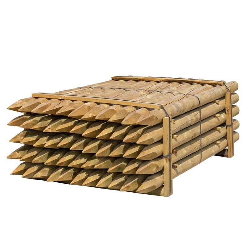 55 x piquet en bois rond de VOSS.farming, piquet de clôture en bois, traitement autoclave, classe d´utilisation 4, 200cm x 100mm