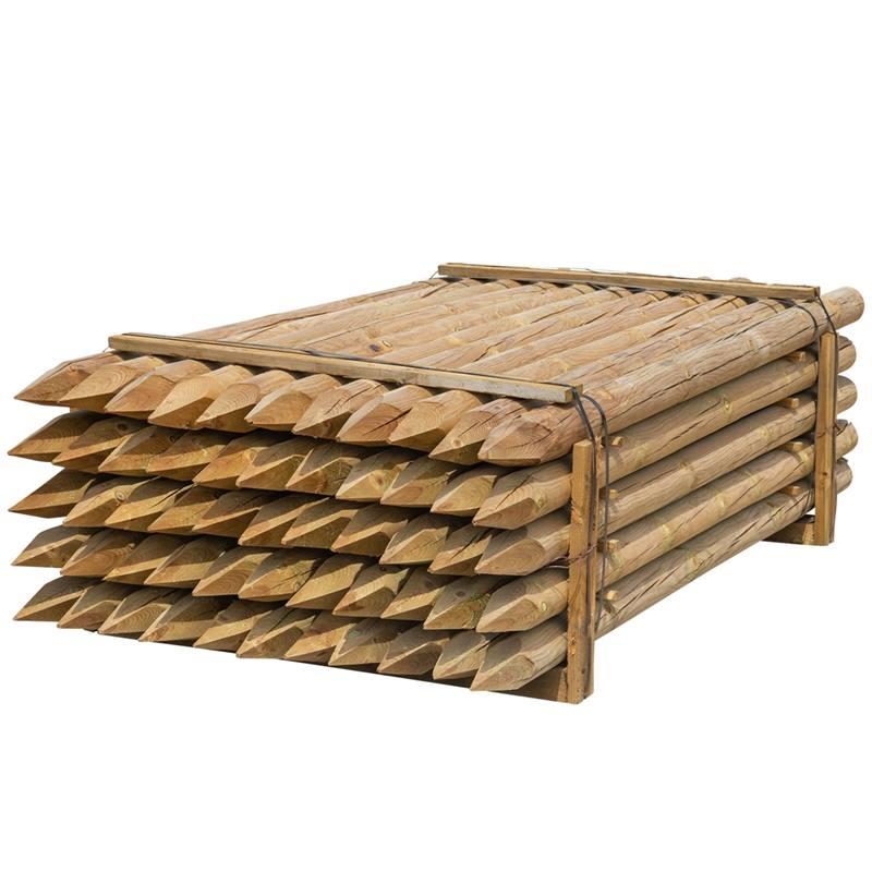 55 x piquet en bois rond de VOSS.farming, piquet de clôture en bois, traitement autoclave, classe d´utilisation 4, 250cm x 100mm