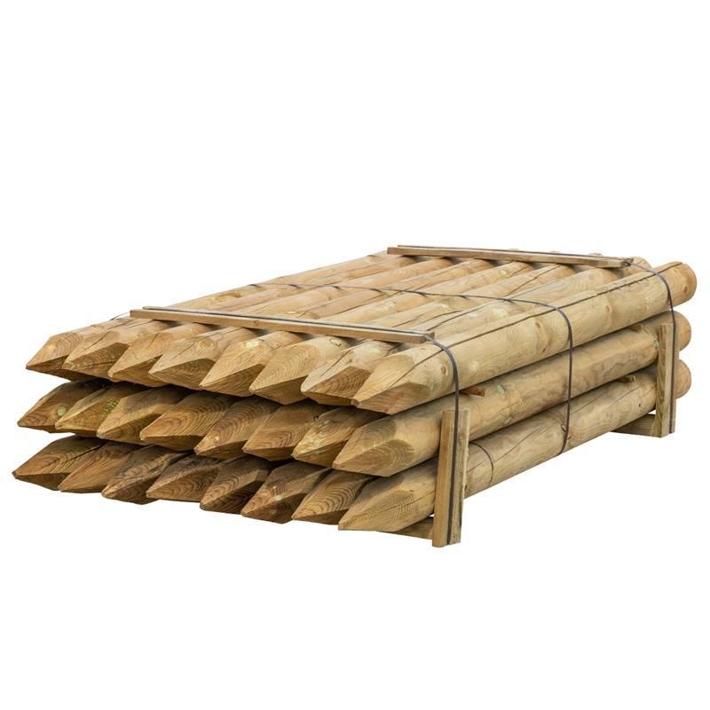 24 x piquet en bois rond de VOSS.farming, piquet de clôture en bois, traitement autoclave, classe d´utilisation 4, 200cm x 140mm