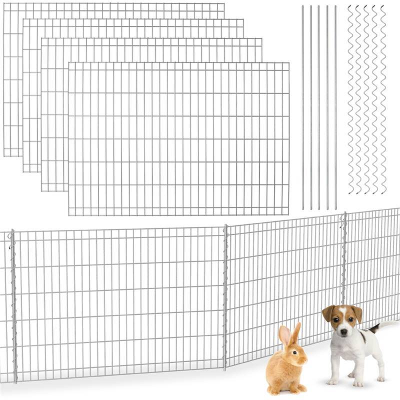 Voss Cl�ture � panneaux rigides, galvanis�e de VOSS.garden, 80x460 cm, pour le jardin, enclos pour petits animaux, protection d��tang