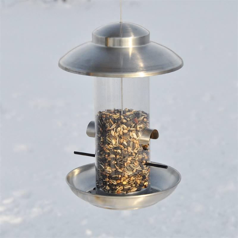 Maison pour oiseaux, mangeoire Smøllebird, petit modèle, 17 x 28 cm, acier inoxydable brossé