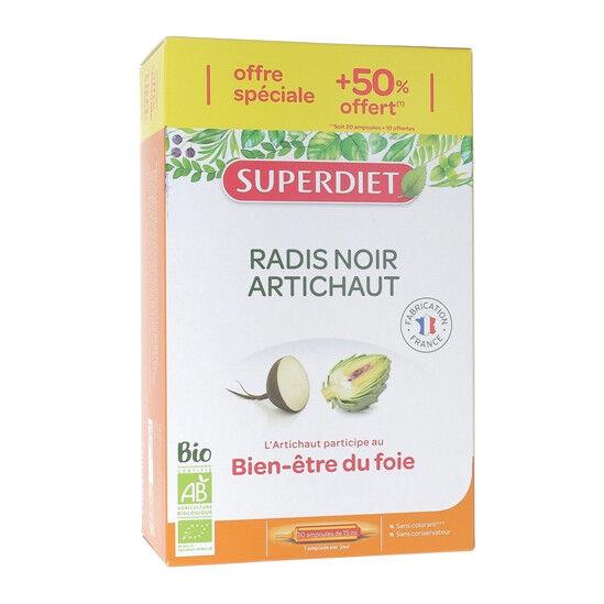 Superdiet Radis Noir Artichaut Bio 30 ampoules