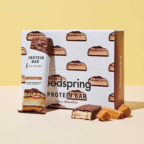 foodspring Protein Bar Extra Chocolate Soft Caramel Pack de 12