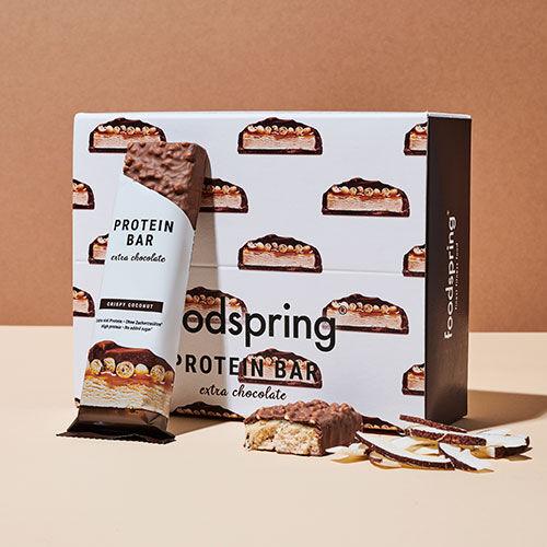 foodspring Protein Bar Extra Chocolate Crispy Coconut Pack de 12