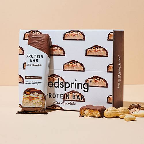 foodspring Protein Bar Extra Chocolate Crunchy PeanutPack de 12