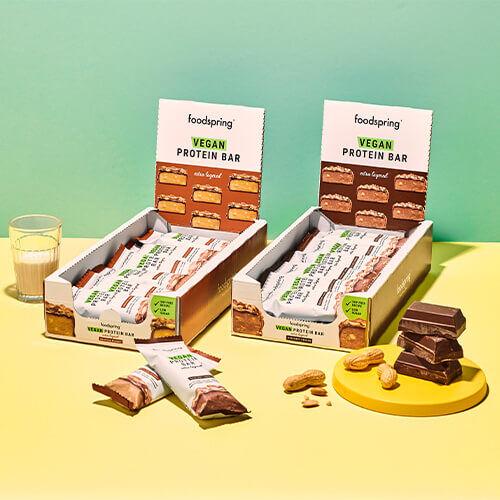 foodspring Barre Proteinée Végane Extra Noisette croquante Pack de 12