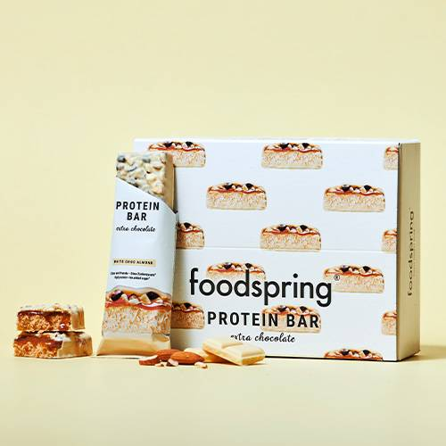 foodspring Protein Bar Extra Chocolate White Chocolate Almond Pack de 12
