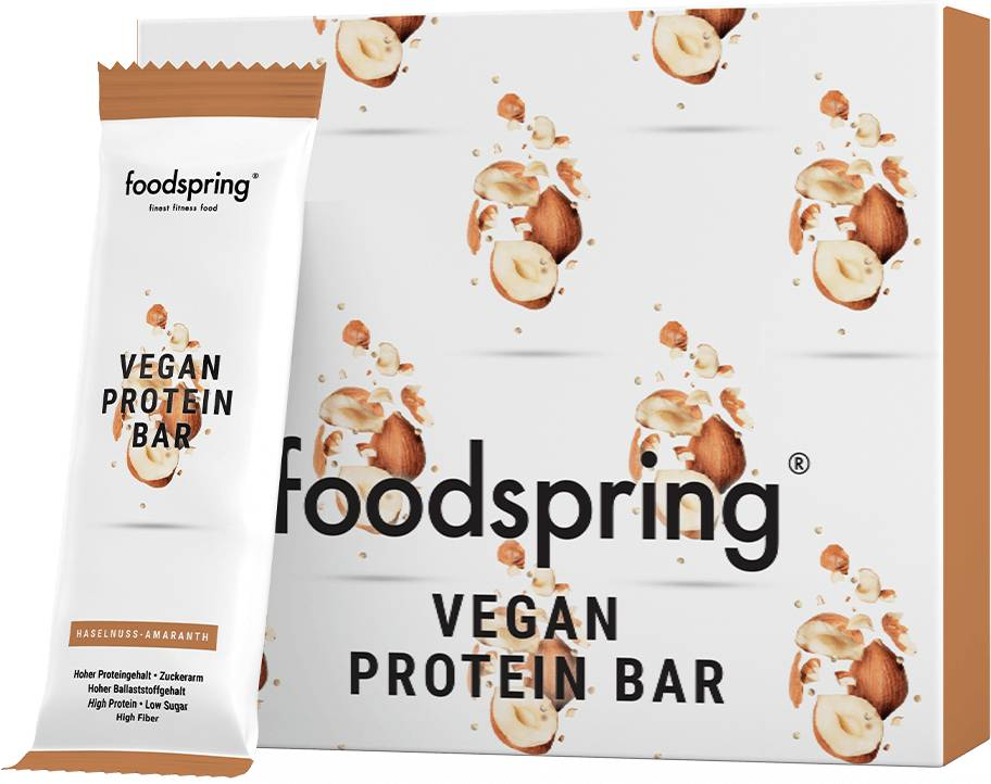 foodspring Protein Bar Vegan Noisette-Amarante Pack de 12