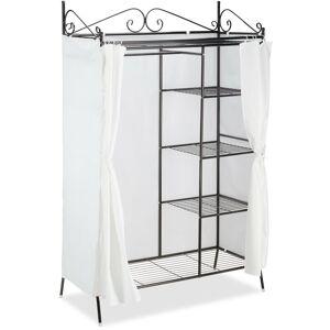 RELAXDAYS Penderie Métal COUNTRY 172x105x45 cm, Portant à vêtements avec Housse Style maison de campagne, Noir-Blanc - Publicité