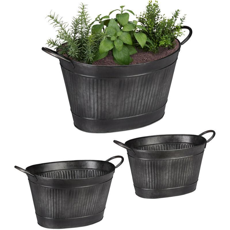 RELAXDAYS Pot de fleurs set de 3, antiquités, Bac à fleurs jardinière ovale, Vintage en fer galvanisé, 12, 18, 22 litres