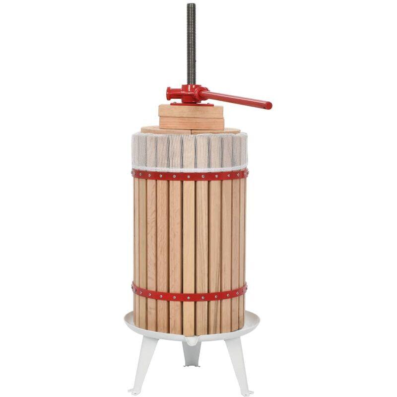 VIDAXL Presse-fruits et à vin avec sac en tissu 30 L Bois de chêne