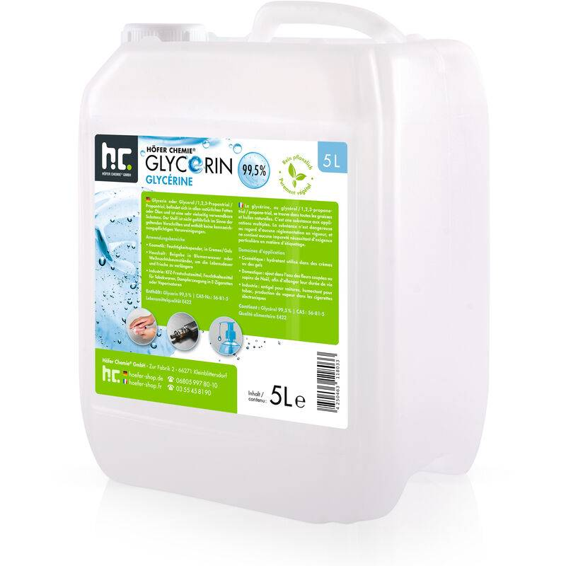 HöFER CHEMIE 4 x 5 Litre Glycérine végétale pure - qualité alimentaire
