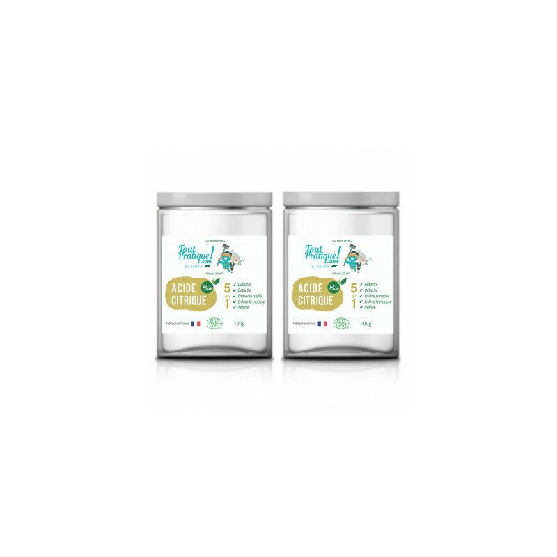 TOUTPRATIQUE Acide Citrique Bio 1.4 Kg en Pot Réutilisable-Qualité Supérieure-Bio-Naturel-Français