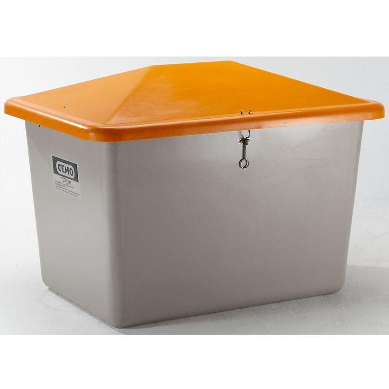 HAUTEUR EXTéRIEURE: 960 MM CEMO Bac à sel en polyester renforcé de fibre de verre - sans trappe d'accès - capacité 700 l, poids env. 30 kg - Coloris du couvercle: orange