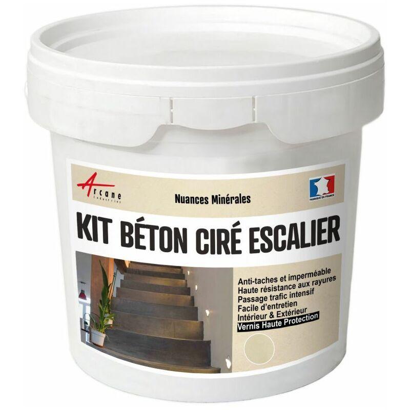 ARCANE INDUSTRIES Béton Ciré Escalier - Kit Complet avec primaire et vernis Lin - Beige - kit 10 m² (2 couches) - Arcane Industries