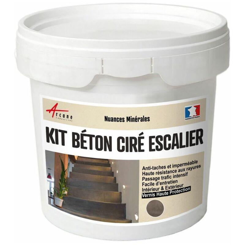 ARCANE INDUSTRIES Béton Ciré Escalier - Kit Complet avec primaire et vernis Vison - Gris beige - kit 10 m² (2 couches) - Arcane Industries