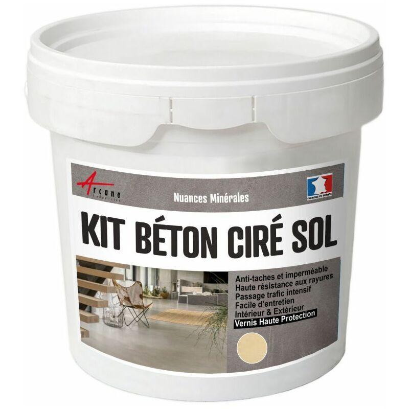ARCANE INDUSTRIES Béton Ciré Sol en Kit - Primaire et vernis de finition inclus Vanille - Beige - kit 10 m² (2 couches) - Arcane Industries