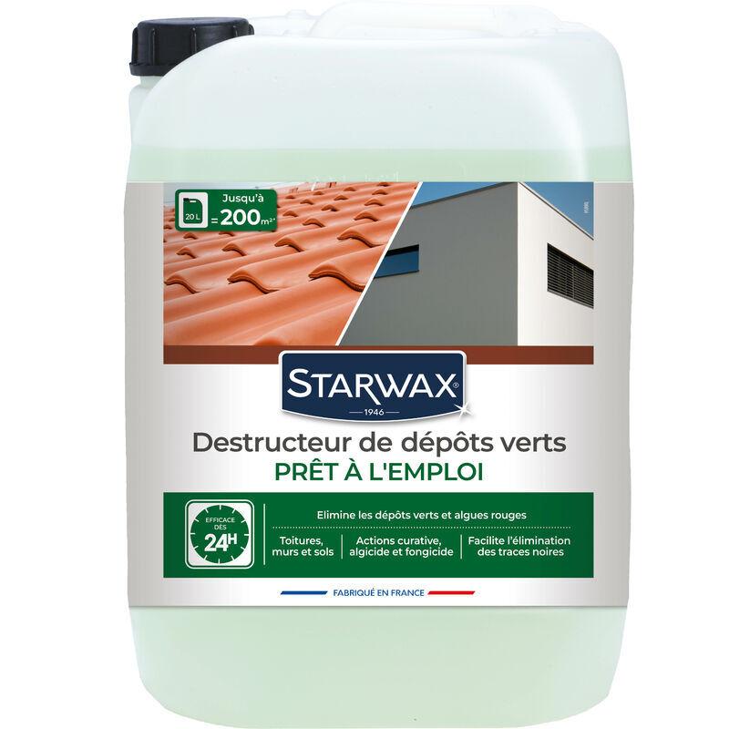 Brunel - Destructeur de dépôts verts prêt à l'emploi pour toitures, murs et sols extérieurs 20L STARWAX