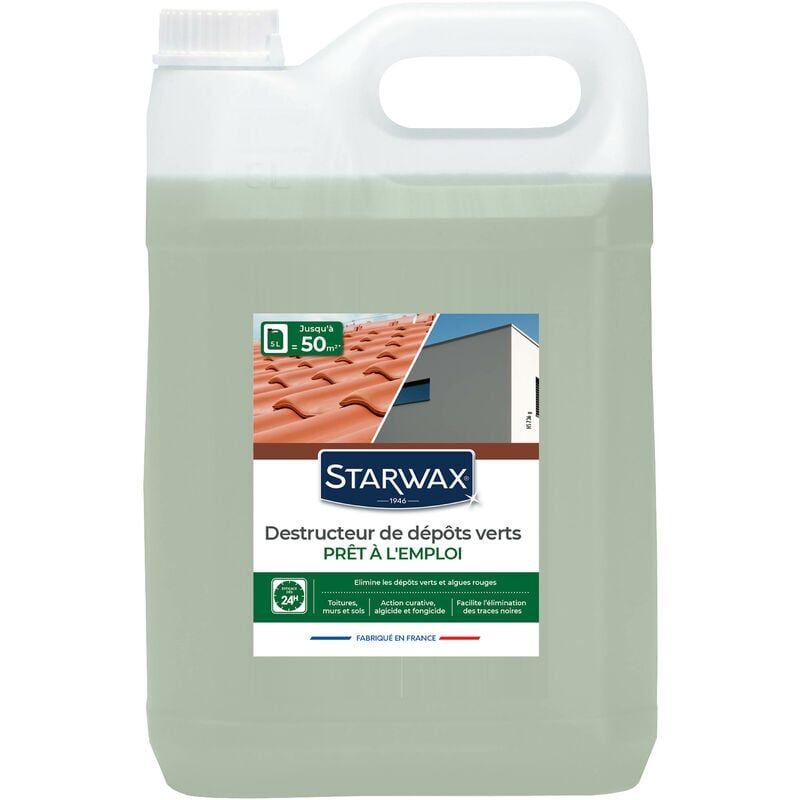 STARWAX Destructeur de dépôts verts prêt à l'emploi pour toitures, murs et sols extérieurs 5L STARWAX