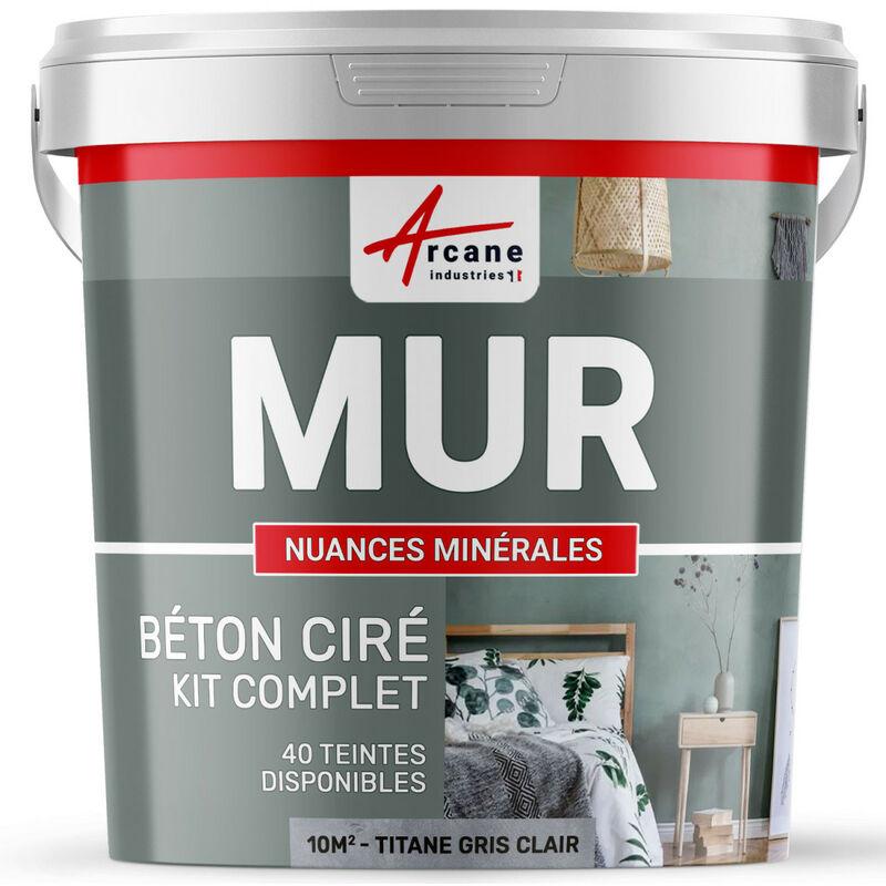 ARCANE INDUSTRIES Béton ciré mur couleur enduit décoratif en kit gris blanc beige - ARCANE INDUSTRIES - Titane - Gris clair - 10m² - Satinée