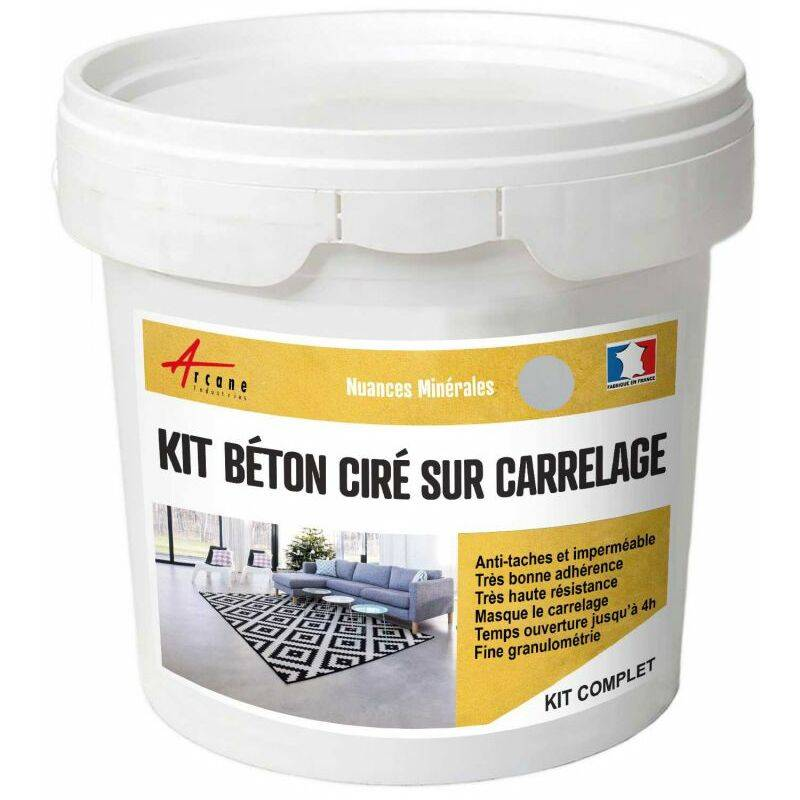 Arcane Industries - Béton ciré sur carrelage cuisine salle de bain mural sol plan de travail décoratif revêtement douche kit Griset - Gris clair