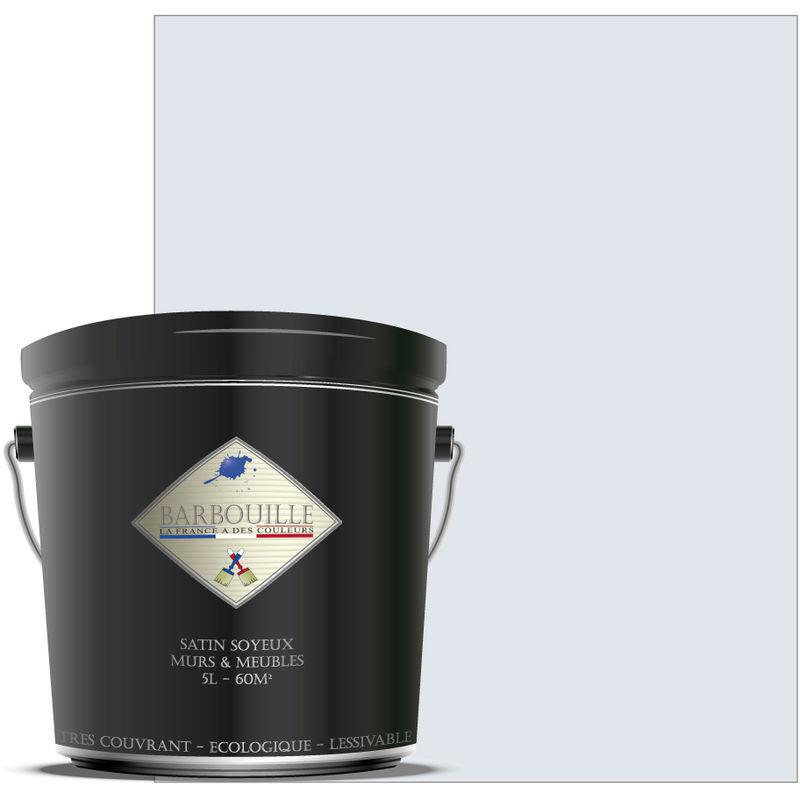 Barbouille - Laque acrylique satin – meubles, bois, murs et plafonds - 5 ltr Blanc - Innocent