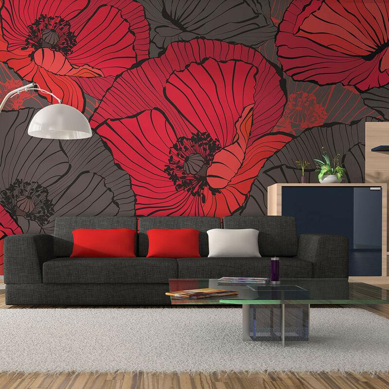 Artgeist - Papier peint Coquelicots plissés - Taille L 450 x H 270 cm
