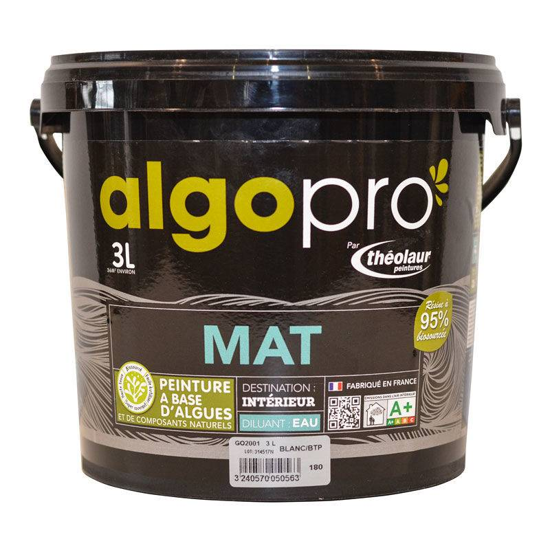 ALGO Peinture naturelle bio-sourcée à base d'huile végétale et d'algues pour murs et plafonds : Algo Pro mat - 1834 vanille sauvage - 3L