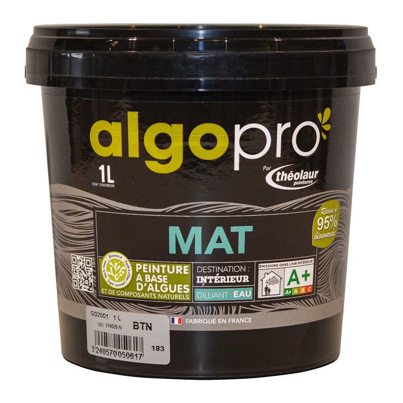 ALGO Peinture naturelle bio-sourcée à base d'huile végétale et d'algues pour murs et plafonds : Algo Pro mat - 1841 lin - 1L