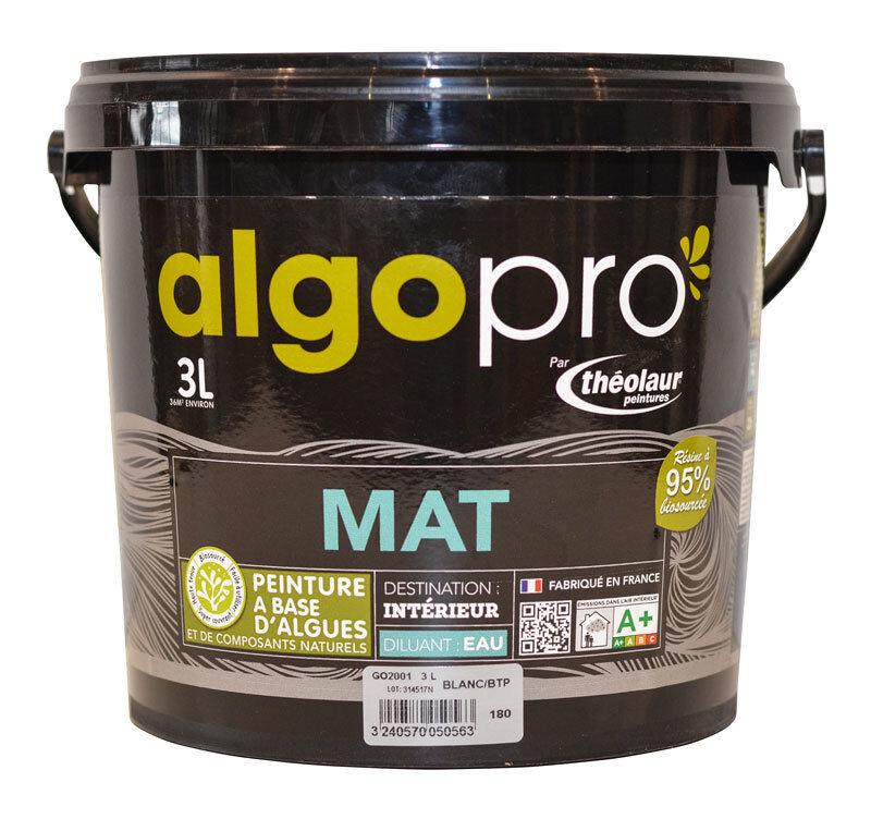 ALGO Peinture naturelle bio-sourcée à base d'huile végétale et d'algues pour murs et plafonds : Algo Pro mat - 2012 rose indien - 3L
