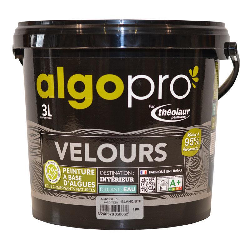 ALGO Peinture naturelle bio-sourcée à base d'huile végétale et d'algues idéale pour les murs : Algo Pro velours - 1959 lait d'amande - 3L
