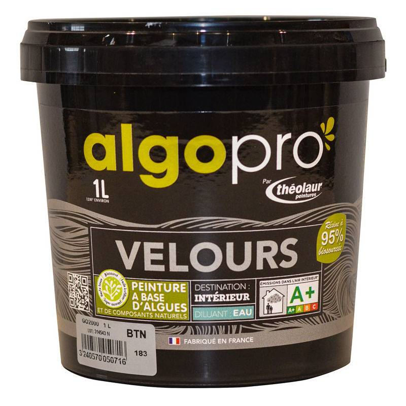 ALGO Peinture naturelle bio-sourcée à base d'huile végétale et d'algues idéale pour les murs : Algo Pro velours - 2075 rose poudré - 1L