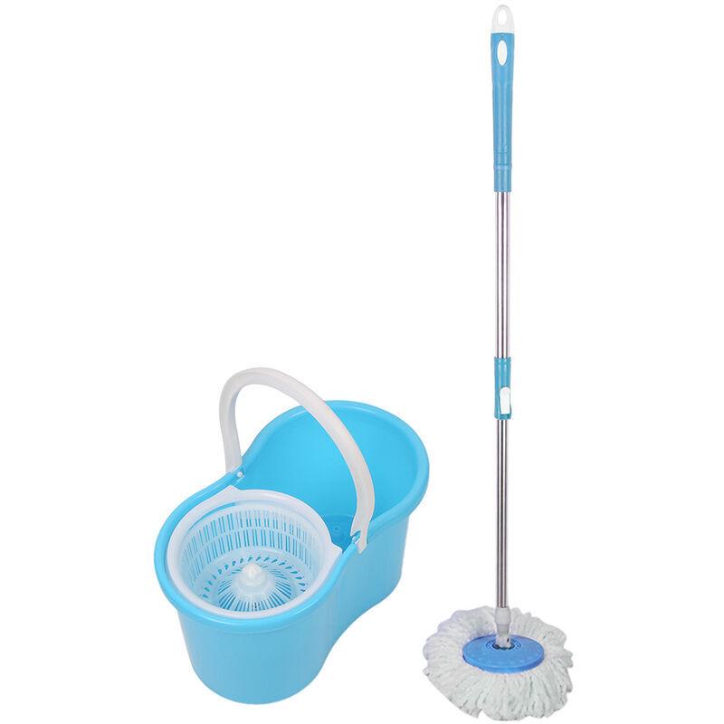 SKECTEN ® Balai serpillière microfibre avec seau essoreur bleu - Skecten