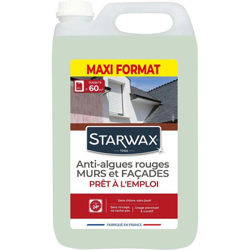 STARWAX Traitement anti-algues rouges prêt à l'emploi pour murs et façades 6L STARWAX