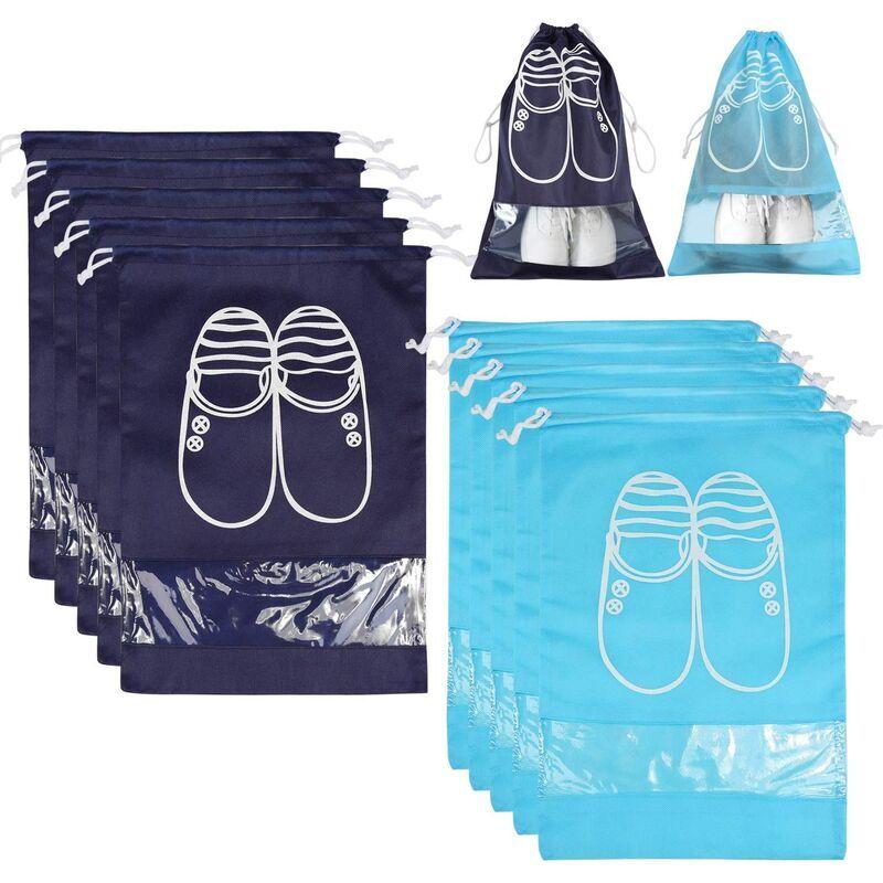 LANGRAY 10 sac à chaussures sac de rangement sac sac à chaussures sac à chaussures sac en tissu de soin des chaussures sac de voyage (grand, 5 * bleu et 5 *