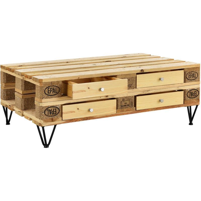 [EN.CASA] 4 comptoir pour meuble de palette Bois + 1 set de pied meuble d'épingle à cheveux 20 cm Noir