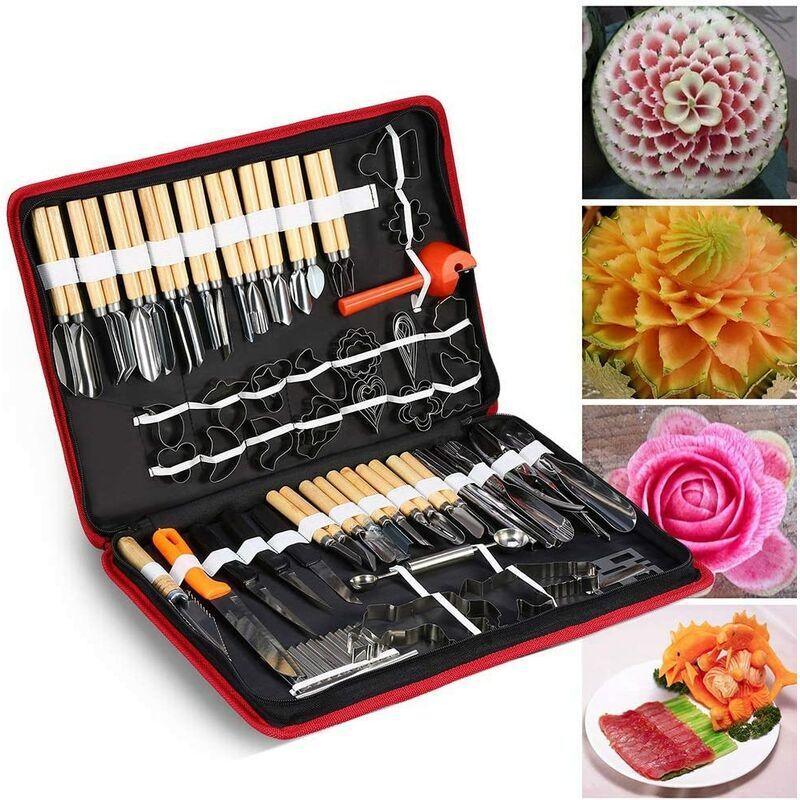 HTTPS://IMAGES-NA.SSL-IMAGES-AMAZON.COM/IMAGES/I/717QUEZQYYL._AC_SL1500_.JPG 80 PCS/Set Culinaire Carving Peeling Outils Kit pour Légumes Fruits Garniture Coupe Trancheuse