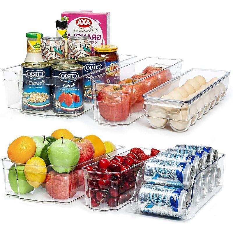 BRIDAY Bacs de rangement pour réfrigérateur, organisateur de réfrigérateur en plastique transparent 6 pièces, bacs de réfrigérateur sans BPA pour