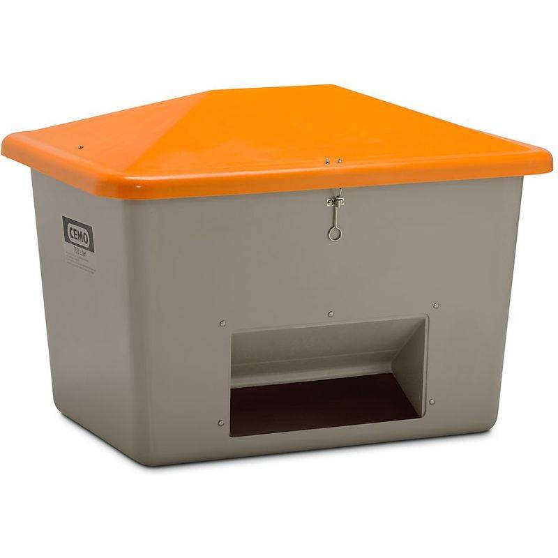 CERTEO CEMO Bac à sel en polyester renforcé de fibre de verre - avec trappe d'accès - capacité 700 l, poids env. 32 kg - Coloris du couvercle: orange