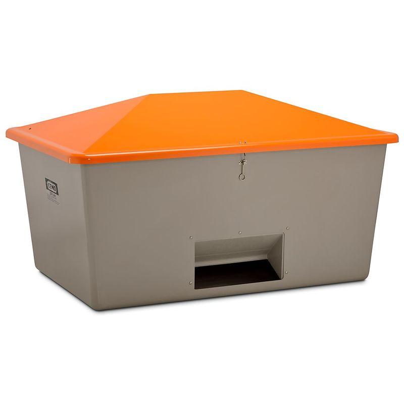CERTEO CEMO Bac à sel en polyester renforcé de fibre de verre - avec trappe d'accès - capacité 2200 l, poids env. 94 kg - Coloris du couvercle: orange