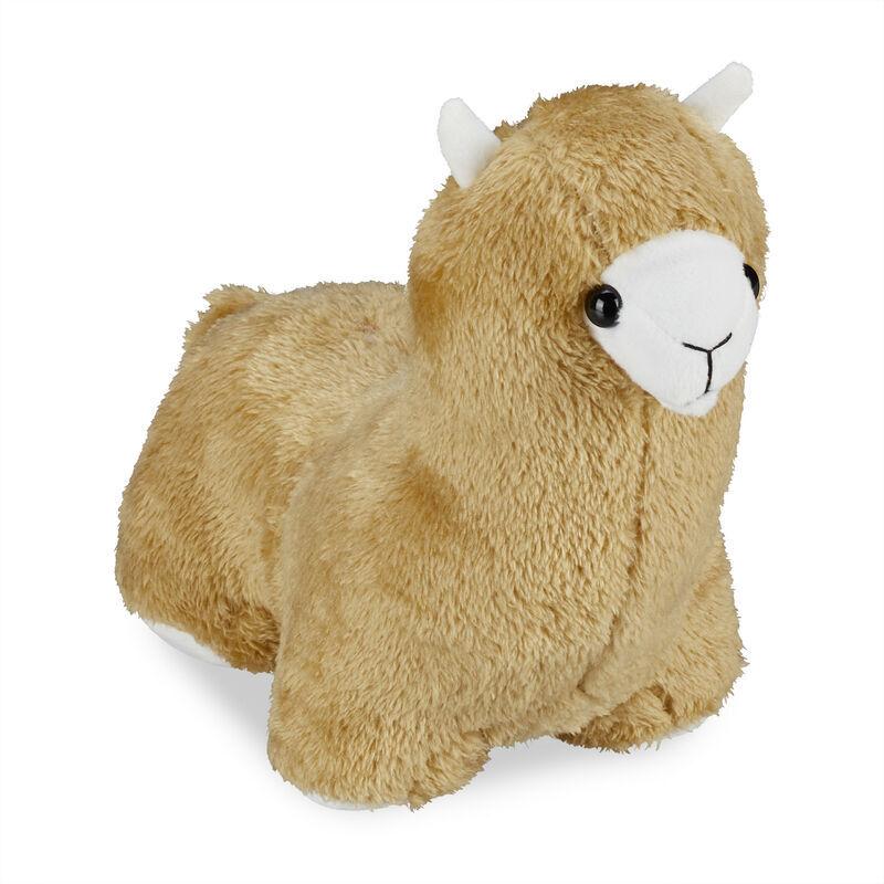 RELAXDAYS Butoir de porte lama, tissu, rempli de sable, pour sol, intérieur, lourd, sac déco, 23x14x29 cm, marron clair
