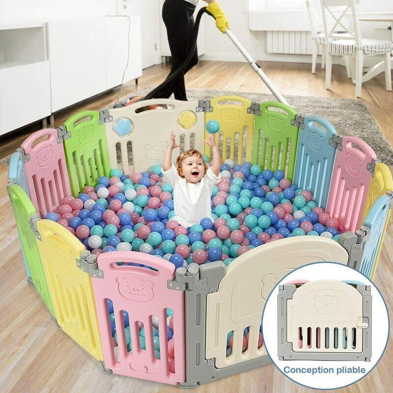 COSTWAY COATWAY Parc Bébé en Plastique 14 Éléments avec Panneaux d'Activité et Porte Barrière Sécurité Enfant Pliable Multicolore