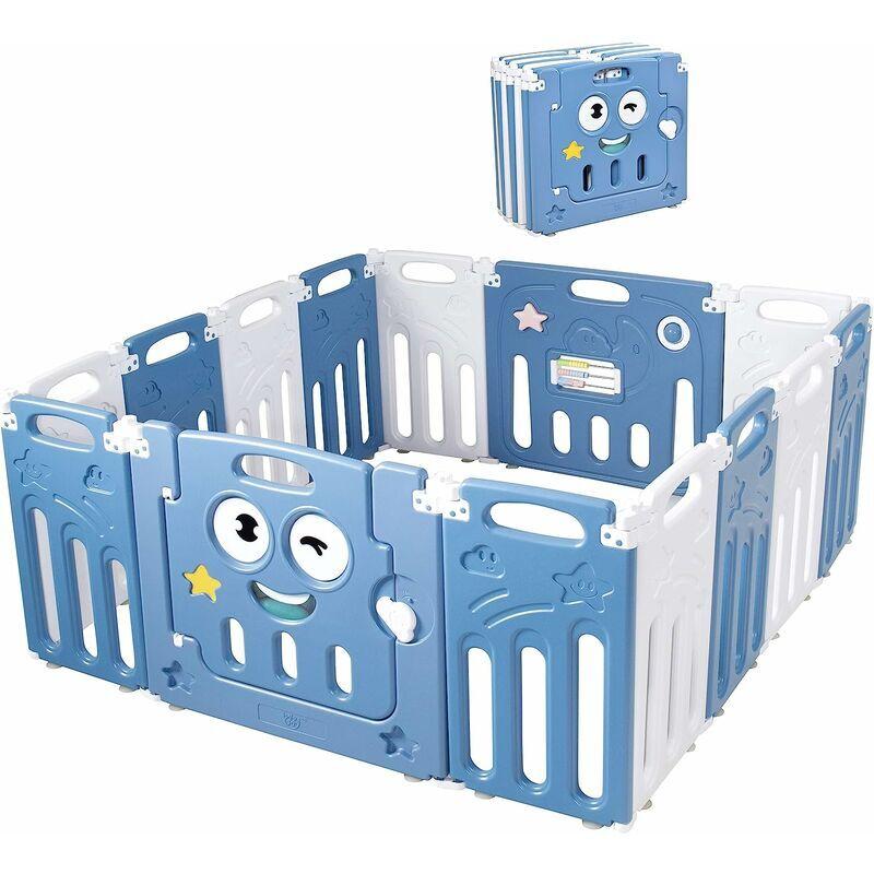 COSTWAY Parc Bébé 14 Pièces Pliable Parc d'Activités en Plastique sans BPA avec Porte Verrouillable Panneau de Jeux 3-72Mois Bleu - Costway
