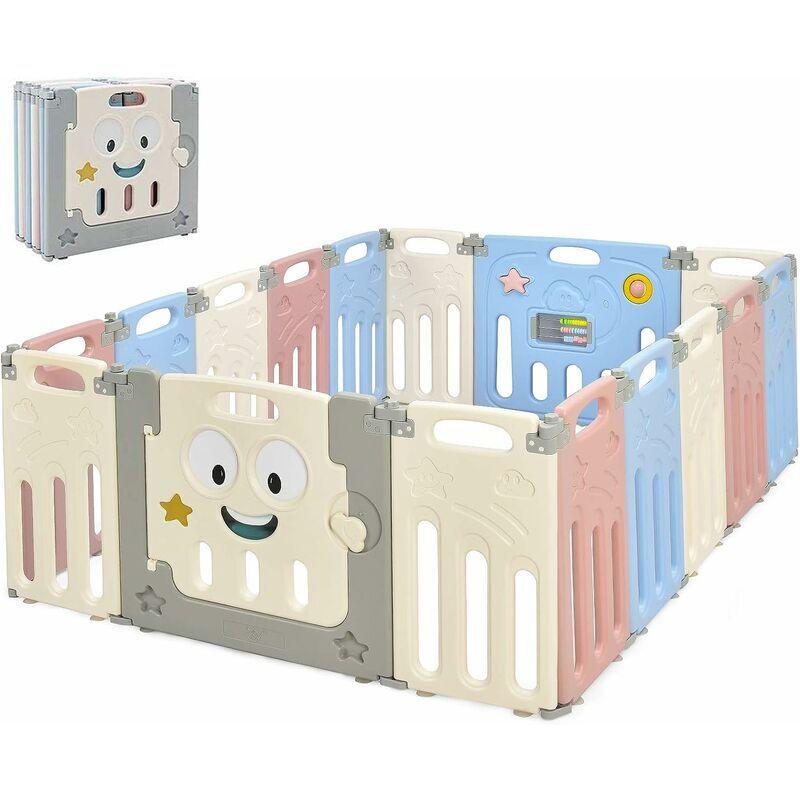 COSTWAY Parc Bébé 16 Panneaux Pliable, Aire de Jeu Pliable pour Enfant en HDPE avec Verrou de Sécurité - Costway