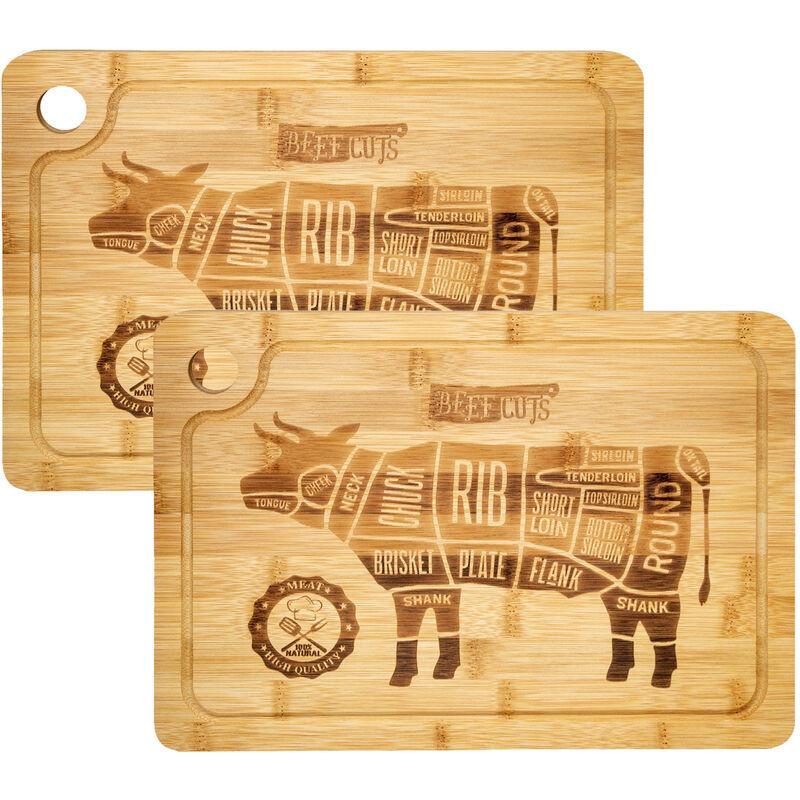 Dunedesign 2x Planches à Découper 33x23cm épais 20mm avec rigole pour jus Bambou