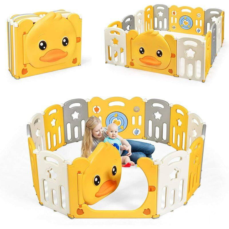 GOPLUS Parc Bébé Pliable en Plastique avec Motif de Canard Jaune et Panneau de Jeu, Parc pour Enfant avec Serrure de Sécurité, Combinable en Diverses