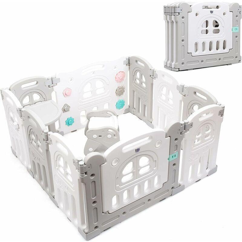 GOPLUS Parc Bébé en Plastique Pliable avec Table et Chaise, Parc pour Enfant avec Porte et Serrure, Combinable en Différentes Formes, pour Bébé Moins de 3